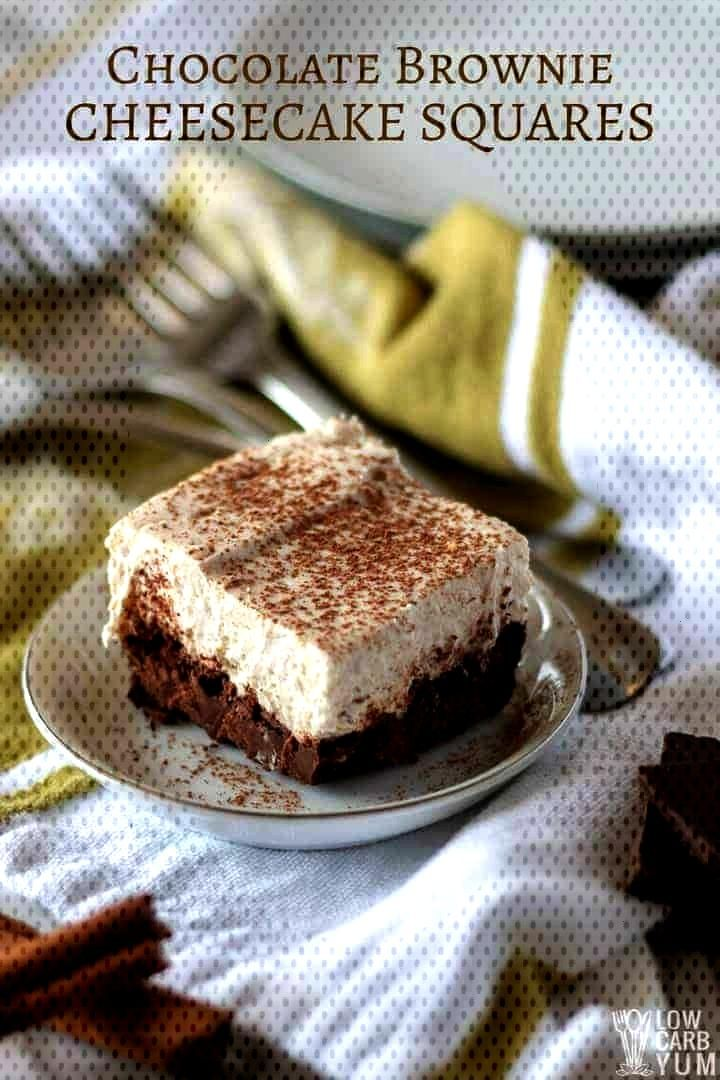 A treat that combines two delectable desserts chocolate brownie cheesecake squares. And each squar