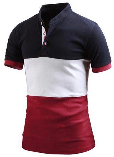 Stand Collar Color Block Splicing Short Sleeve Polo T-Shirt For Men ... a34de9c8a