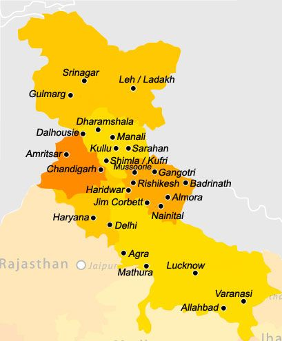 golden triangle india map, north india map, northern plain india map, india travel map, on tourist map of northern india