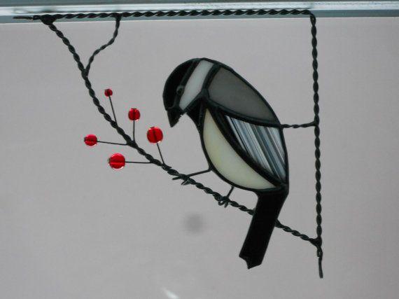 Stained Glass Chickadee Corner