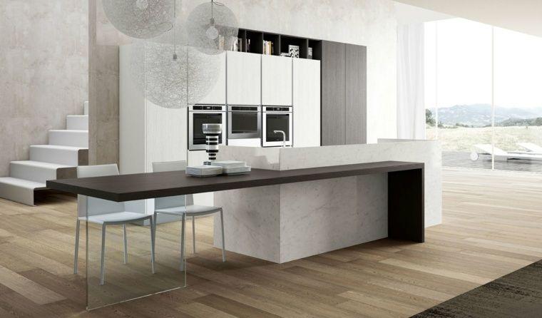 Plan de travail cuisine moderne en pierre et bois House - Table De Cuisine Avec Plan De Travail