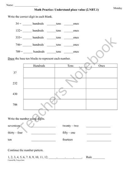 Freebie 10 Pages 2 Nbt 1 Place Value 2nd Grade Common Core Math Worksheets Or Review Remediation For Common Core Math Worksheets Common Core Math Math