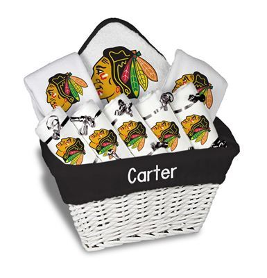 Our personalized chicago blackhawks large gift basket is a perfect our personalized chicago blackhawks large gift basket is a perfect baby gift with 5 burp cloths negle Choice Image