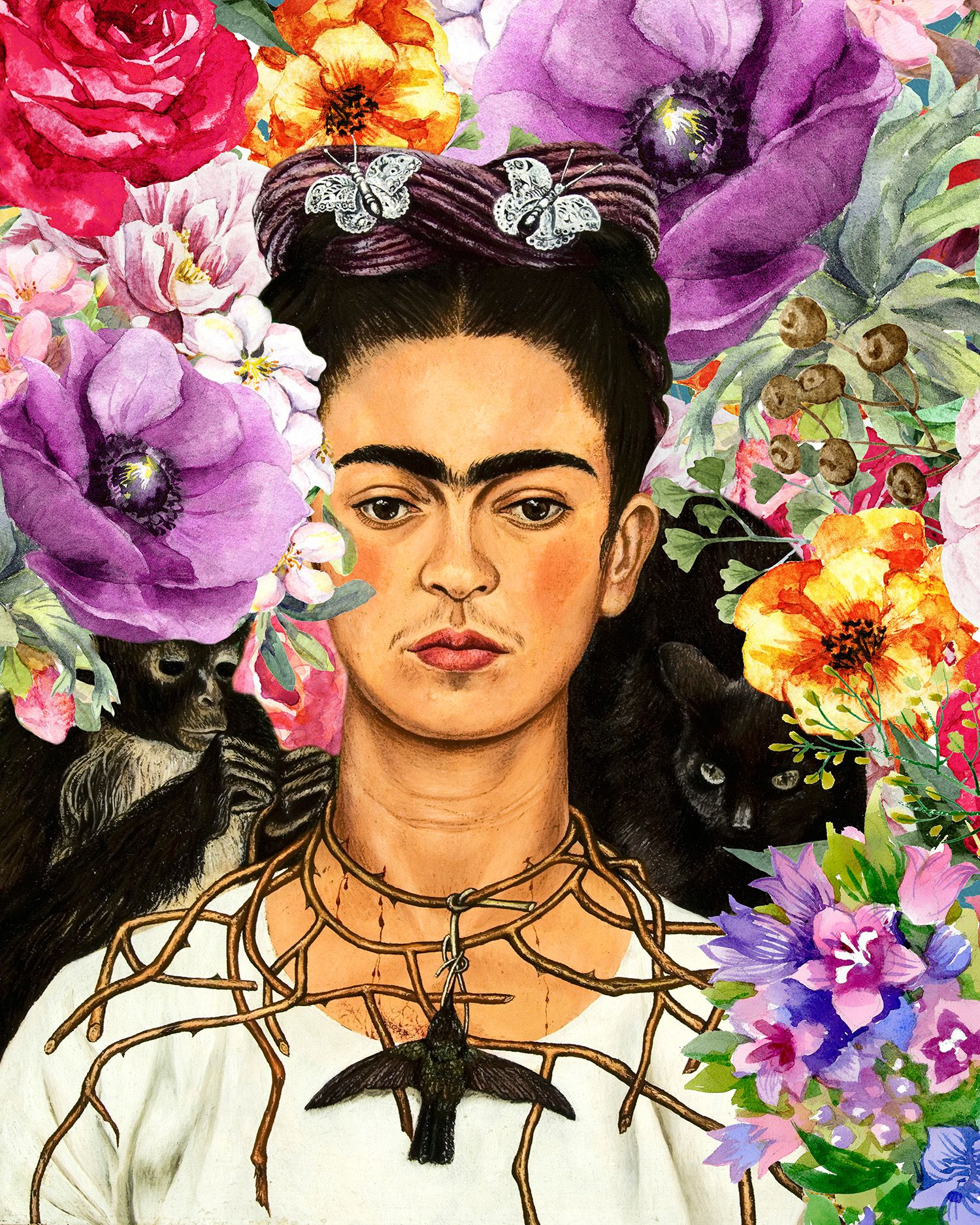 Frida Kahlo. Poster of Frida Kahlo inspired by one of this painting. Frida Kalho with flowers ...