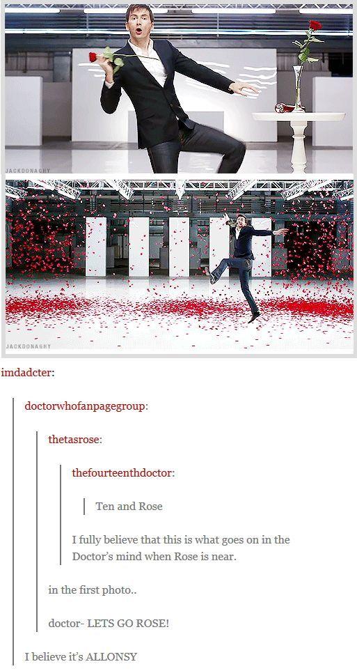Tennant dancing amid rose petals Ad / Doctor Who [gifset] -