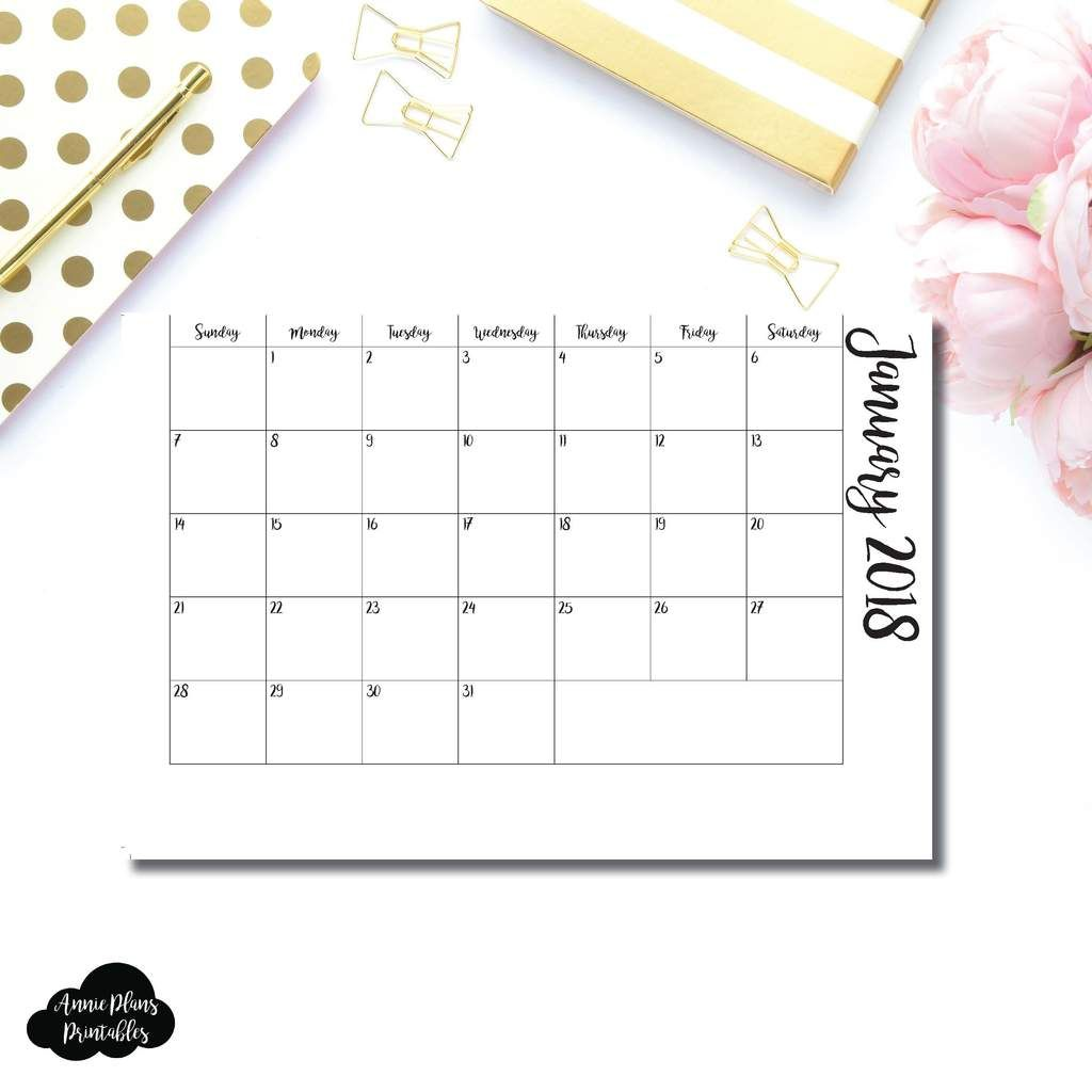 A6 Rings Size 2018 Monthly Pull Out Printable Insert