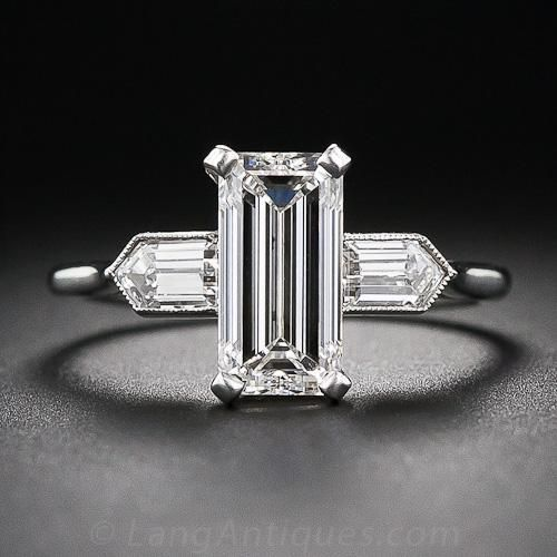 2.05 Carat (G-VS2) Emerald-Cut Diamond Art Deco Engagement Ring -