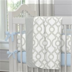 French Gray Geometric Baby Crib Bedding