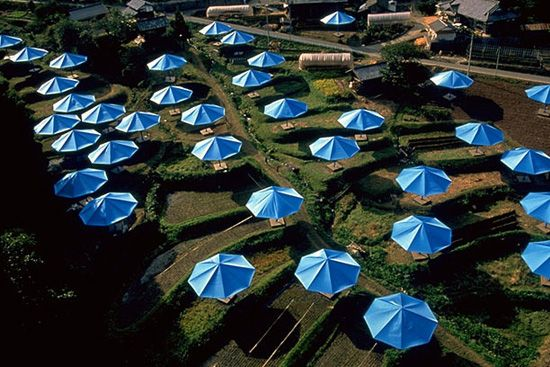 The Umbrellas by Christo and Jean-Claude....blue umbrellas set up simultaneously in Japan...