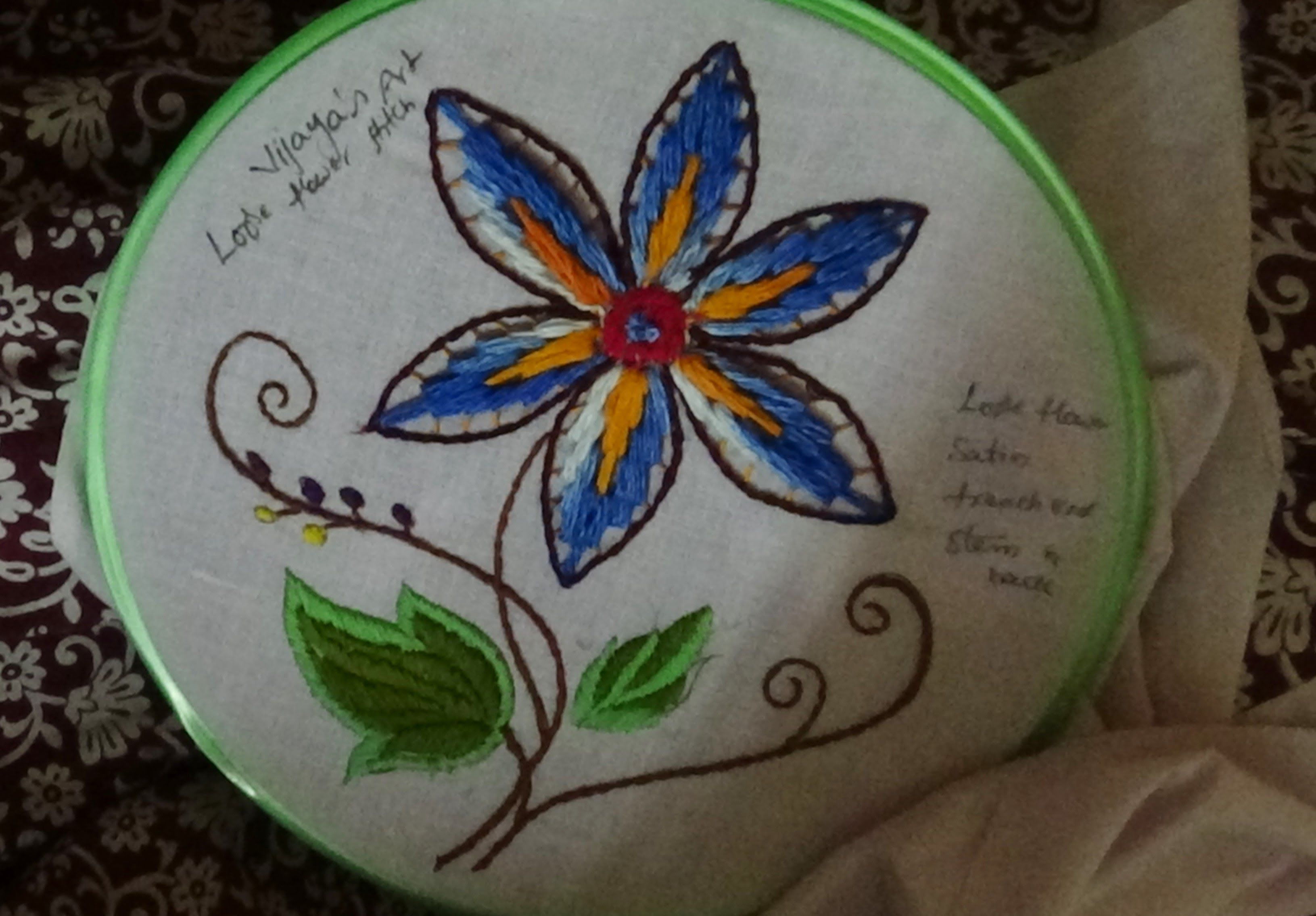 Hand Embroidery Designs # 158 - Loose Flower Design