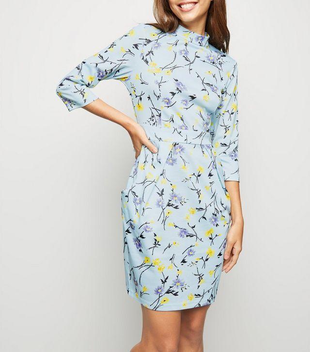 BLUE VANILLA CURVE Black Floral Print Wrap Dress, Plus