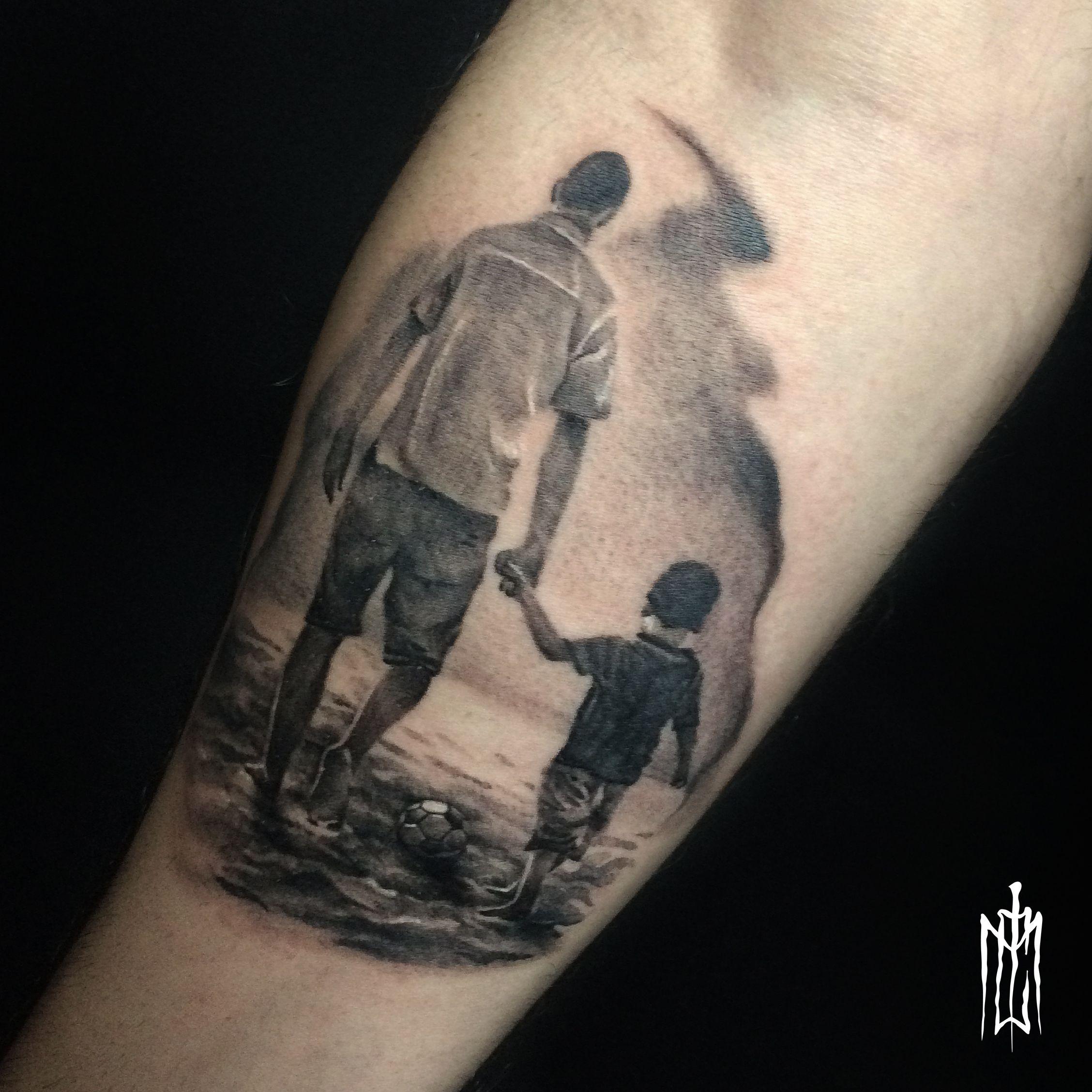 Fotos De Tatuagem De Pai E Filha: Tatuagem De Pai Para Filho Preto E Cinza Para Começar A