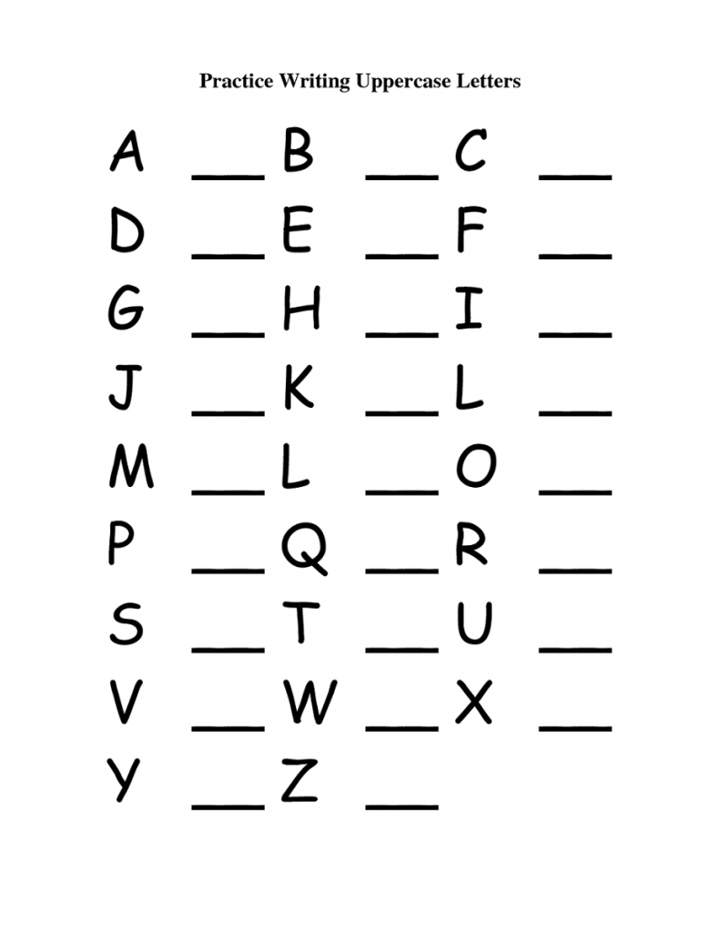 ABC Writing Worksheets to Print Capital letters