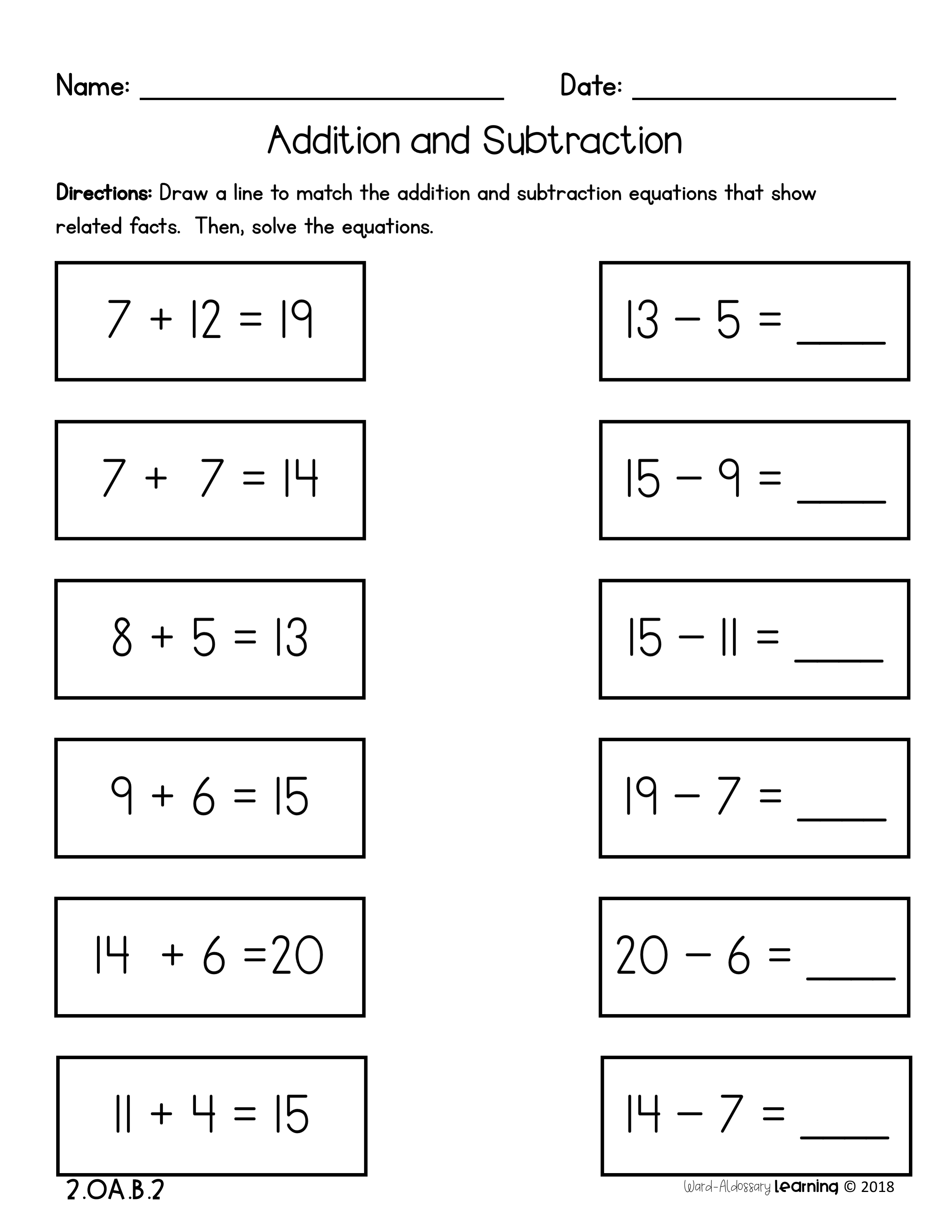 2nd Grade, Addition and Subtraction Fluency No Prep