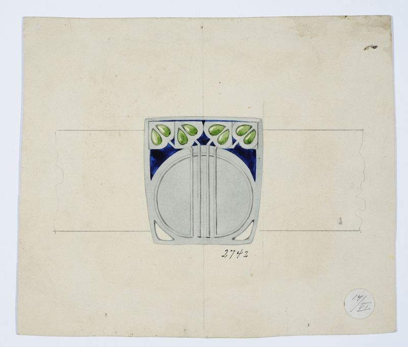 Gustav Gaudernack watercolor design for  belt buckle in silver and enamel with stylized leaf motif.