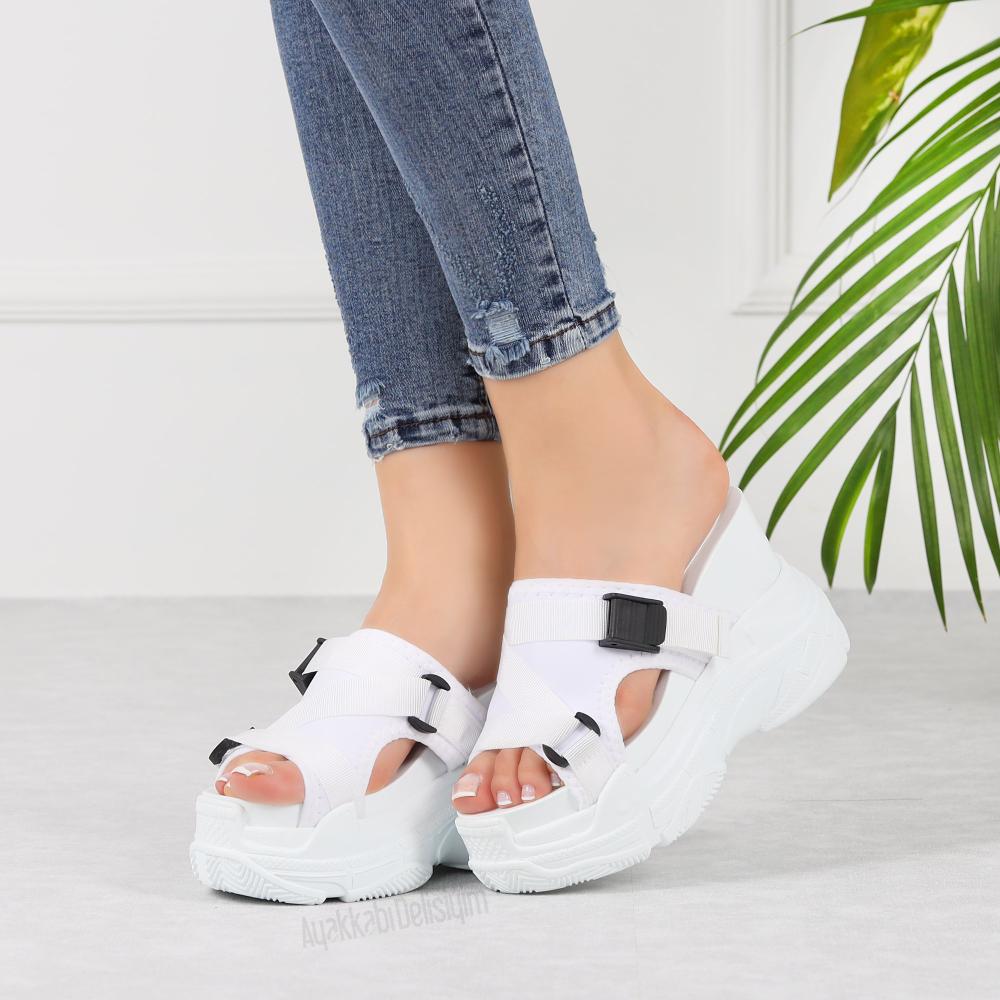 Makeni Beyaz Yuksek Tabanli Kadin Terlik Terlik Dolgu Topuklu Sandalet Kadin