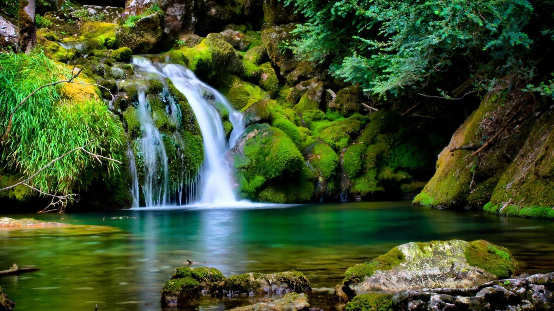 Desktop Wallpapers Waterfall On Mossy Rocks Wallpaper 851617 Waterfall Scenery Waterfall Wallpaper Waterfall Pictures