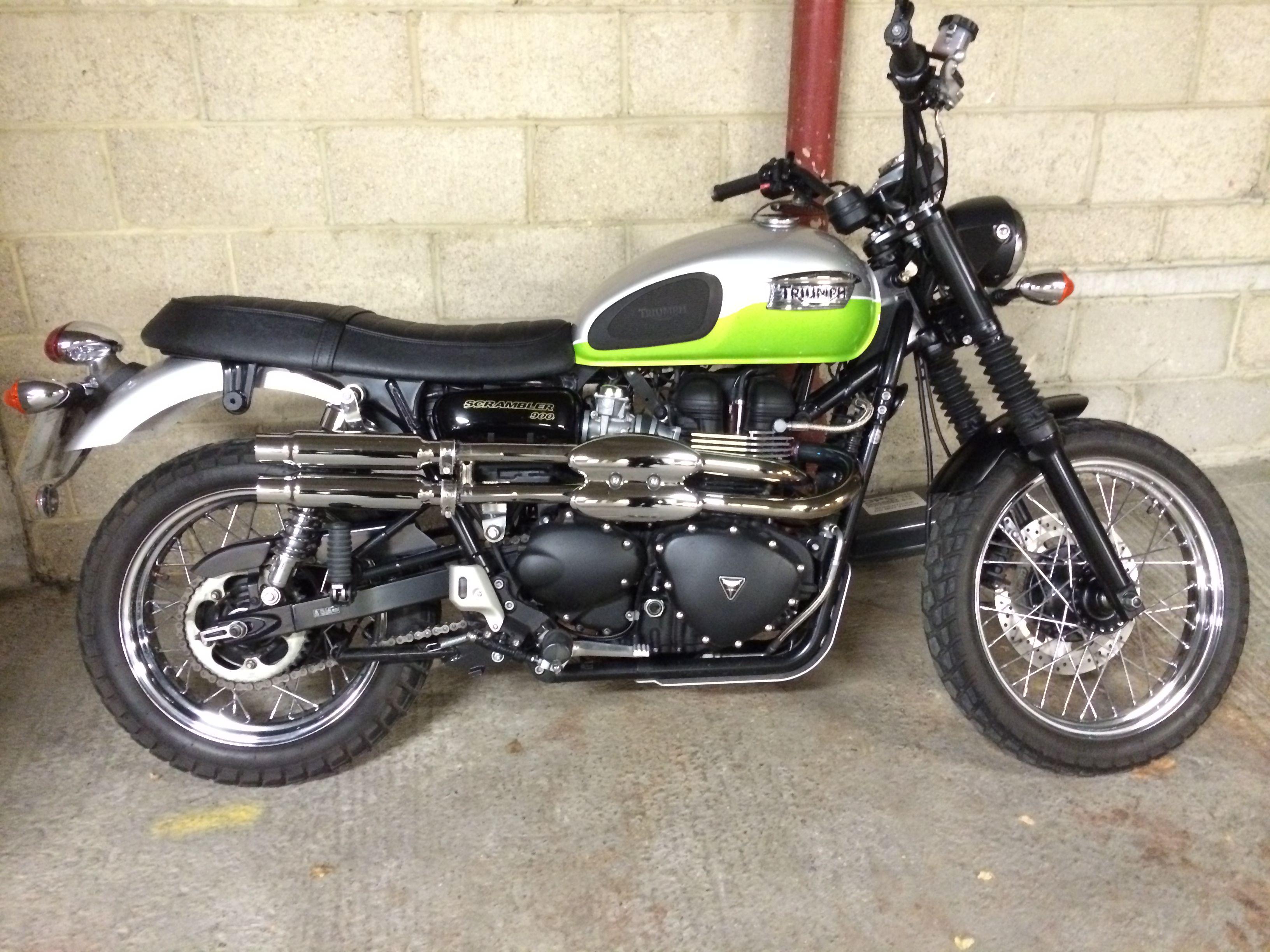 custom exhaust on triumph scrambler | motorcycle | pinterest