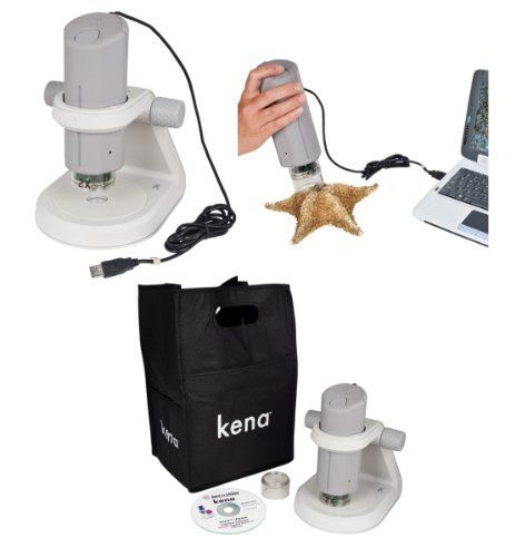 Ken-A-Vision T-1050 Digital Microscope Projector by Ken-A-Vision. $289.00. kena is our newest portable digital microscope offering a unique, ergonomic detachable head that fits snugly in your hand for true portability. The kena USB connector efficiently powers the LED light on the head and lets you magnify capture, or modify images or video directly on your computer. The head fits nicely on its sleek, sturdy metal base that offers transmitted battery-powered LED lighti...