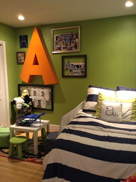 Crafty mama serena and lily big boy room green navy for Orange and green bedroom designs