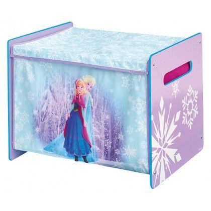 Coffre à jouets Reine des neiges, structure bois et textile - peinture chambre bebe fille