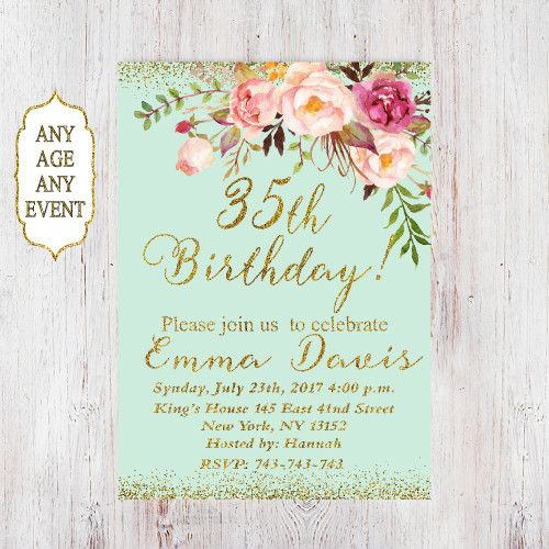 35th Birthday Invitation Any Age Women Floral Mi