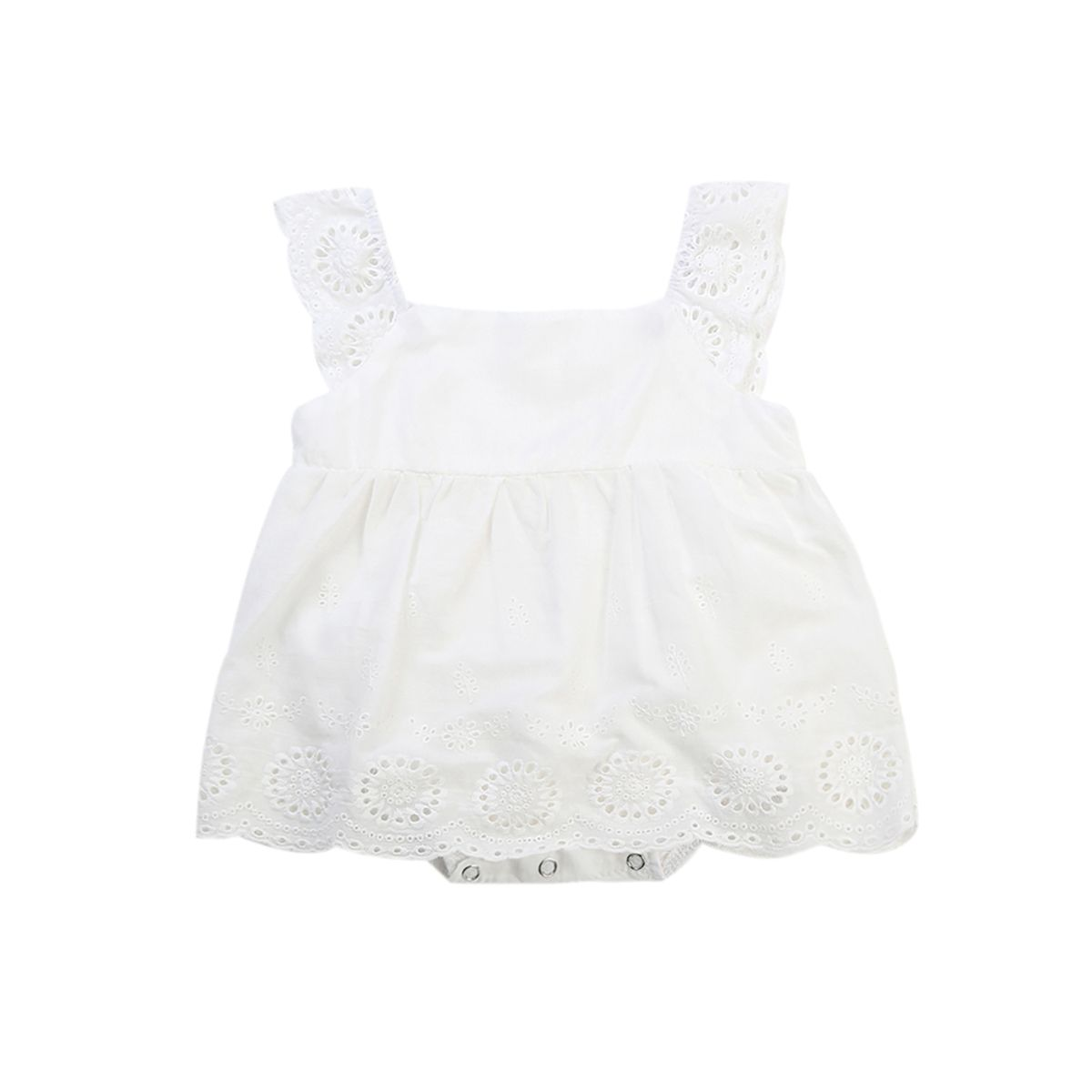 cc851840e31 Baby Girl Romper Jumpsuit Sleeveless Cute White Cotton Clothes Outfits  Newborn Baby Kids Girls Infant Clothing