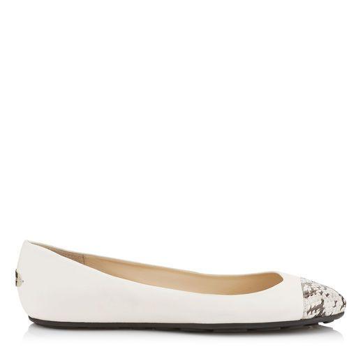 JIMMY CHOO GAZE FLAT White Nappa and Gloss Elaphe Ballerina Flats. # jimmychoo #shoes