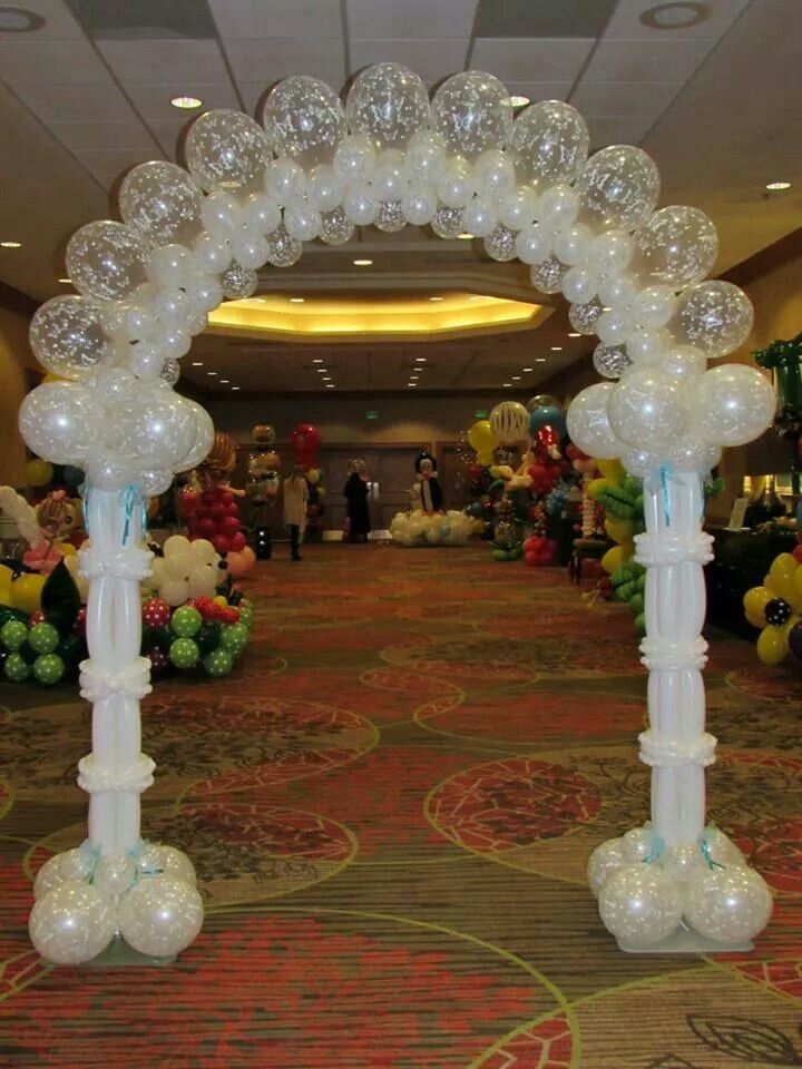 Cool white arch balloons pinterest balloon arch and for Arch balloon decoration