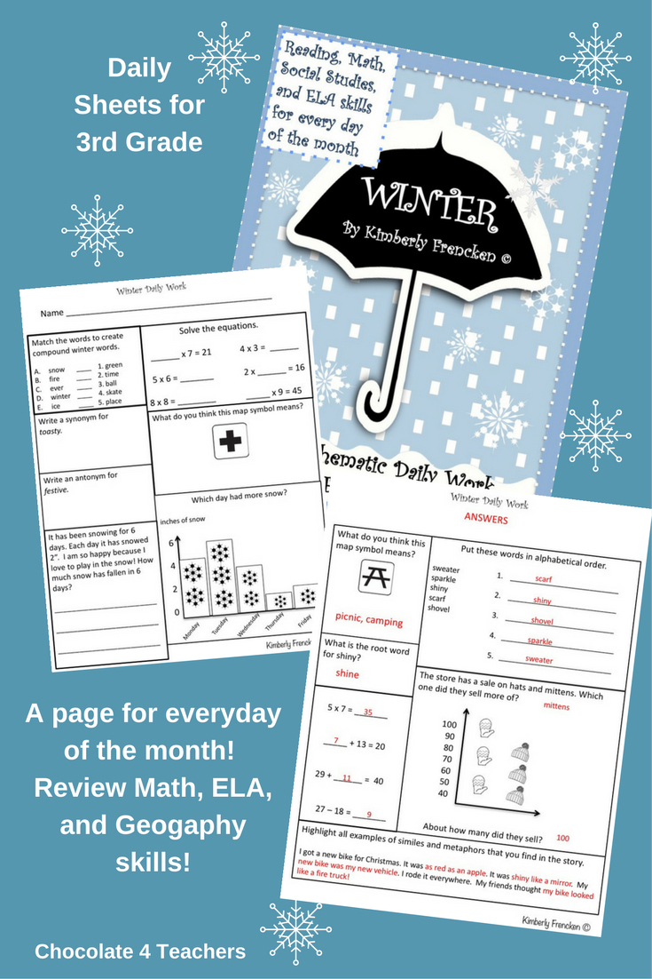 Winter Themed Daily Work for 3rd Grade: ELA, Math, Geography ...