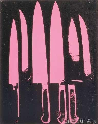 klassischer Kunstdruck Knives, c. 1981-82 (pink and black) von Andy Warhol #andywarhol