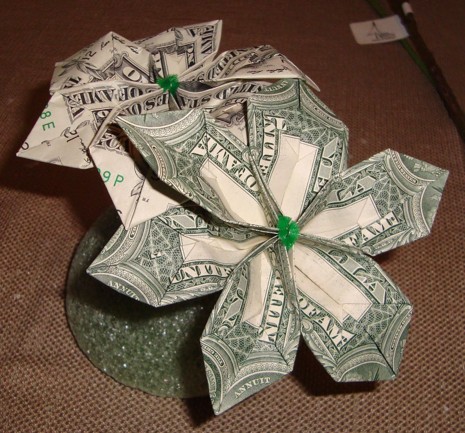 Money: How To Make A Money Origami Flower ~ Bliss Tree