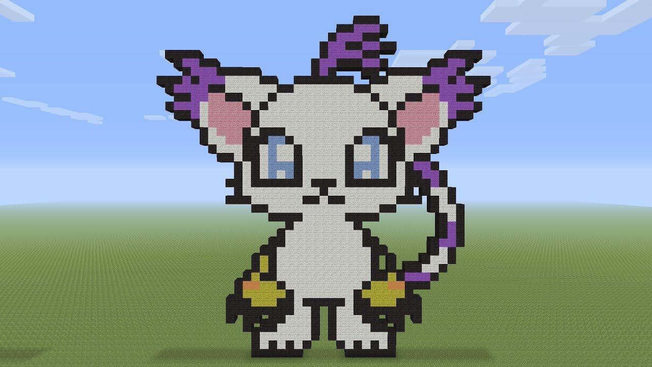 Minecraft Pixel Art Gatomon Digimon Pixel Art Minecraft Pixel