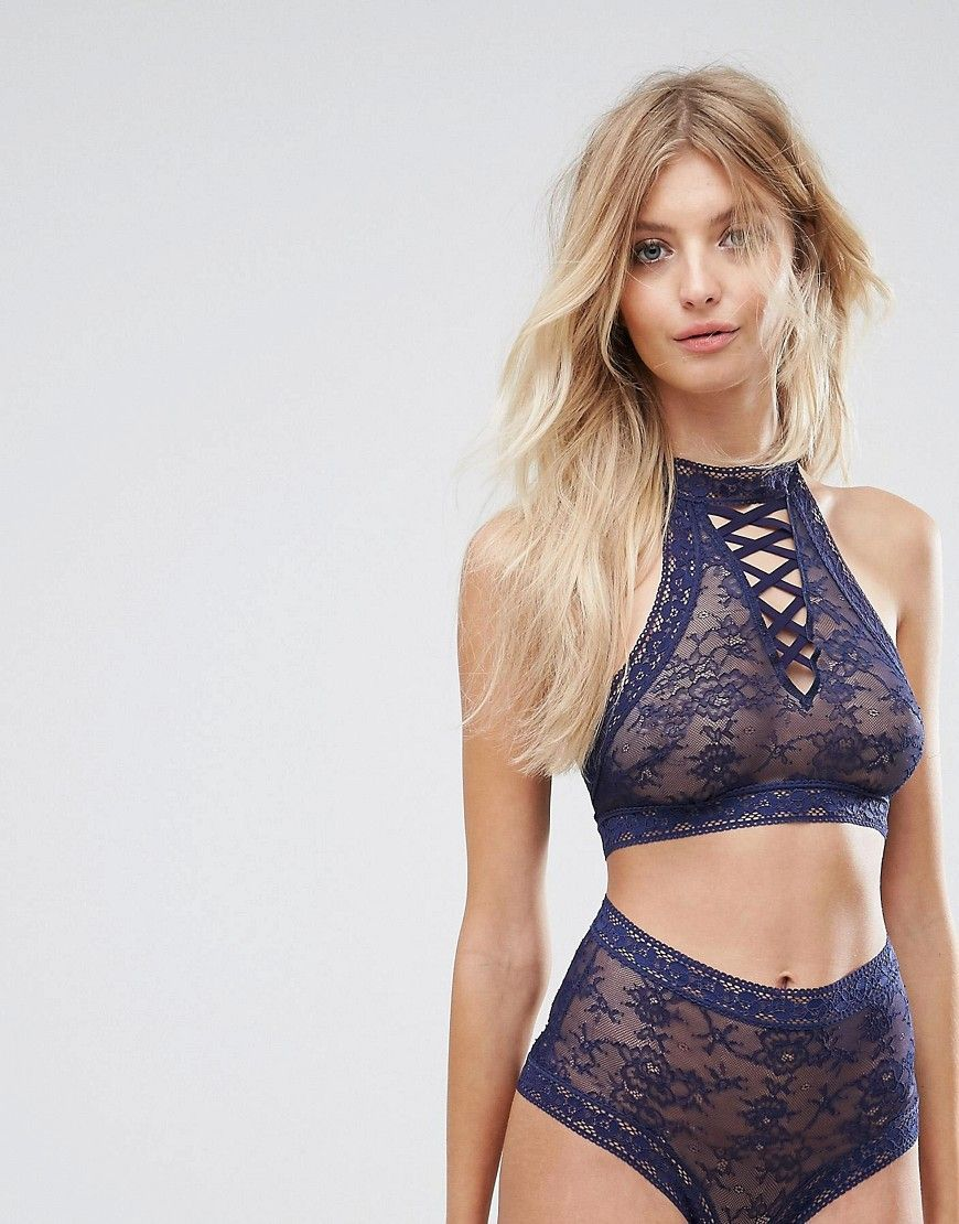 ac30f8982 Hunkemoller High Neck Lace-Up Bralette - Blue