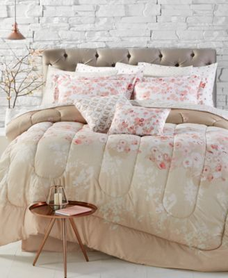 Closeout Repose Coral Reversible 12 Piece Queen Comforter Set Comforter Sets Queen Comforter