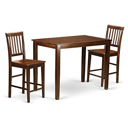 pub table and chairs 3 piece set 2 desk chair costco east west furniture yavn3 mah w high counter height