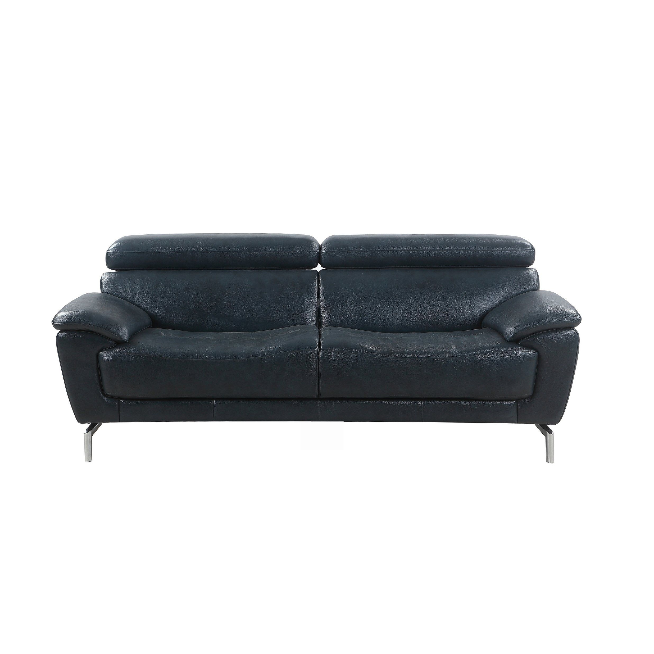 Mid Century Modern Real Leather Sofa Assembly Required Leather
