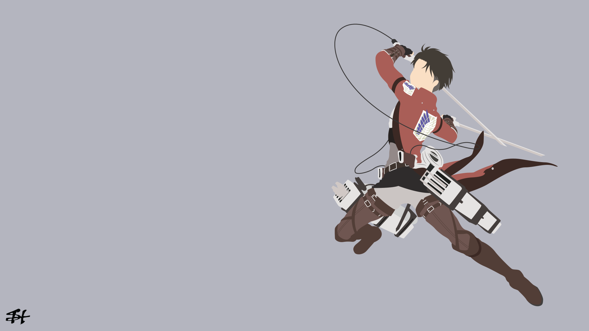 Anime Attack On Titan Levi Ackerman Wallpaper Minimalist Wallpaper Anime Computer Wallpaper Hd Anime Wallpapers
