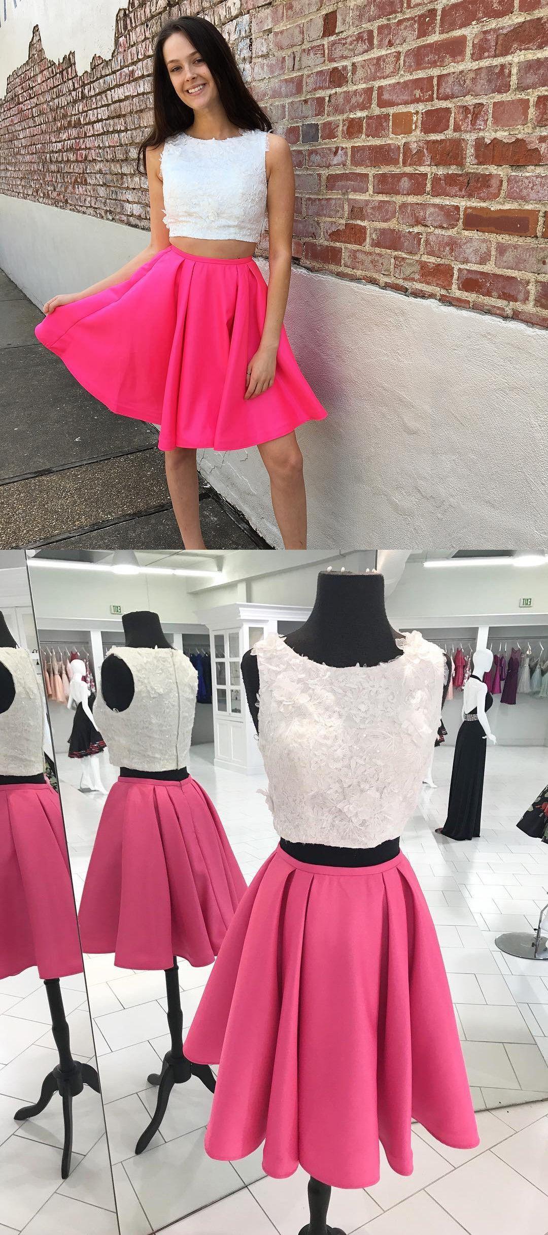 c96ae6e6cf99 2018 two piece short prom dress homecoming dress, 2 piece white and hot  pink homecoming dress