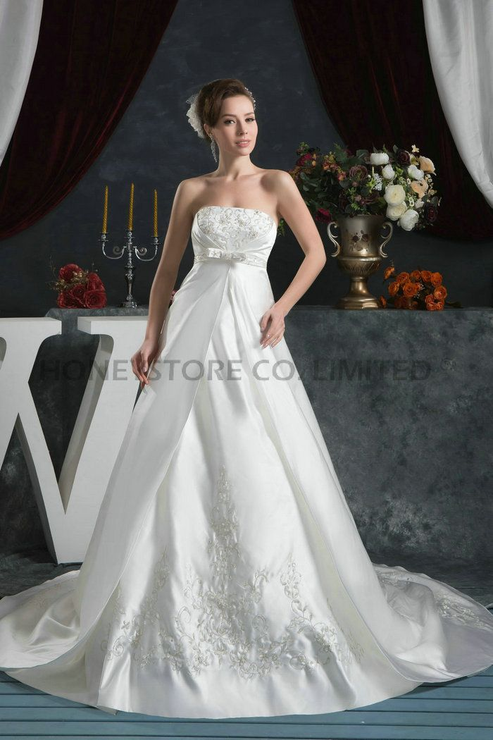 Aliexpress.com : Buy Fast Shipping Empire Strapless Court Train Satin with Embroidery Wedding Dresses from Reliable satin strapless wedding dress suppliers on HONEYSTORE CO., LIMITED $670.68