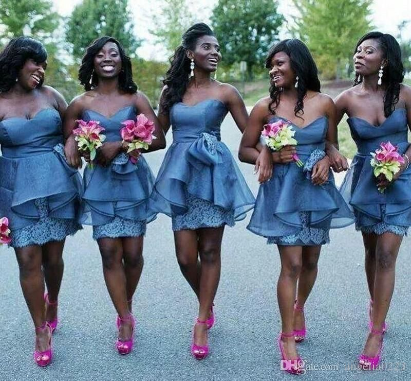 2016 african short bridesmaid dresses lace peplum corset for Plus size african wedding dresses