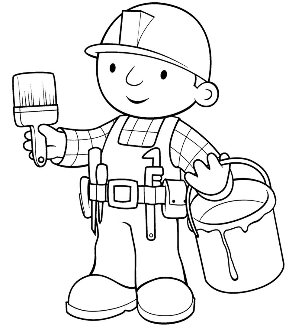 Bob The Builder And Paintbrish Coloring Page Coloring