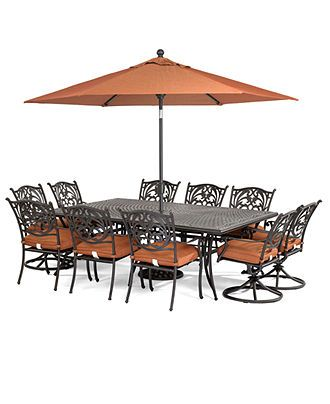 Cau Outdoor Cast Aluminum 11 Pc Dining Set 84 X 60 Table 6 Chairs And 4 Swivel Rockers Created For Macy S
