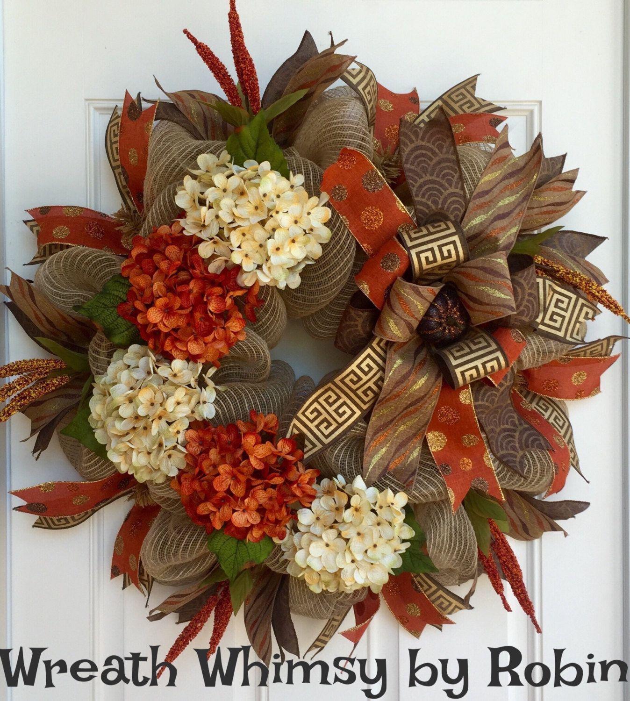Fall Burlap Mesh Orange And Cream Hydrangea Wreath, Front Door