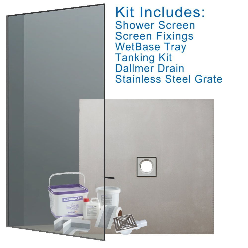 Wet Room Walk In Shower Kit - CENTRE DRAIN - 1200 x 1200 x 20mm & Shower Screen #wetrooms