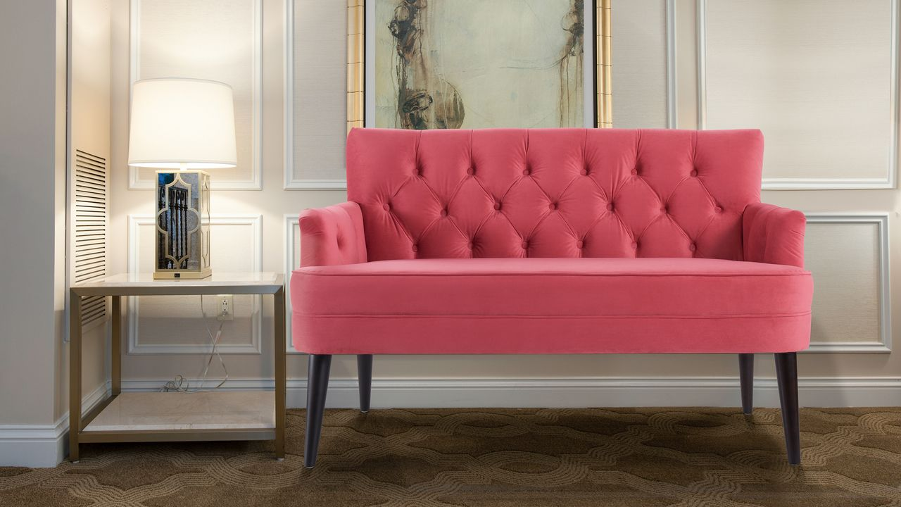 Pleasant Mia Tufted Accent Settee Garnet Rose Love Pink Settee Pdpeps Interior Chair Design Pdpepsorg