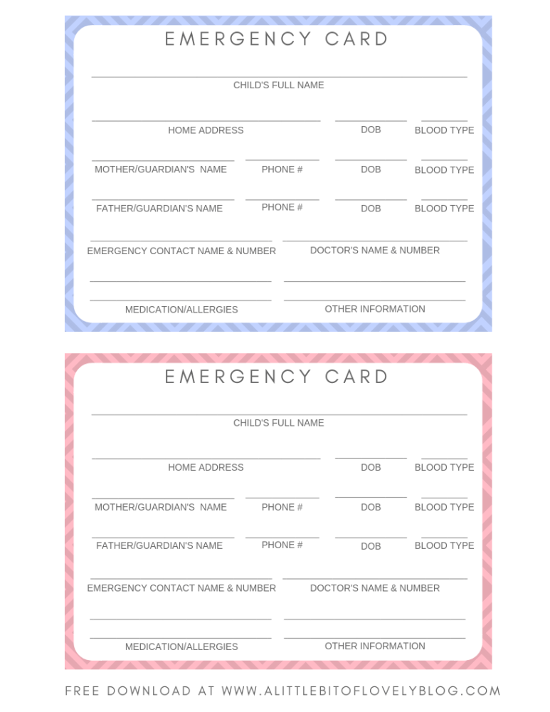 Free Printable Emergency Cards For Your Kids Lifestyle With Leah Contact Card Template Emergency Contact Contact Card