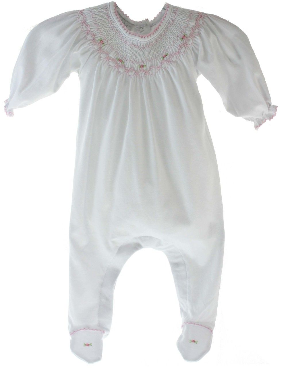 Magnolia Baby Boys Blue Take Home Sleeper Footed Cotton Layette Outfit with Smocking