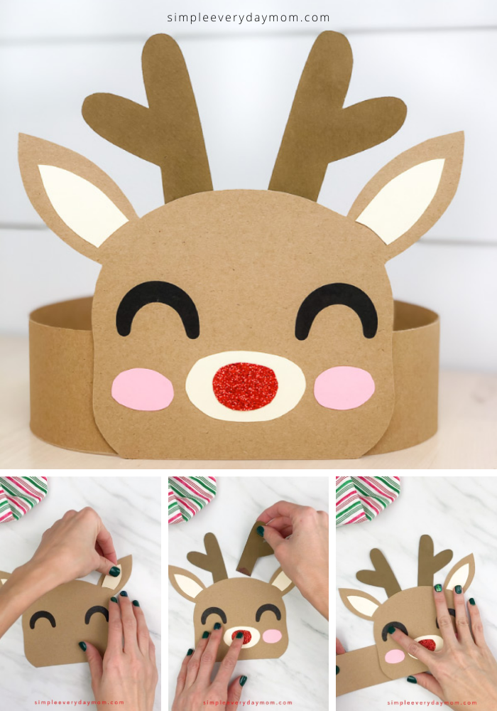 Looking for  an easy holiday craft for kids to make this Christmas? This Rudolph the red nosed reindeer headband DIY is perfect! Download the free template and do with the kids at home or in the classroom.  #simpleeverydaymom #kidscrafts #headbandcraft #holidaycrafts #holidaycraftsforkids #craftsforkids #xmas #christmascrafts