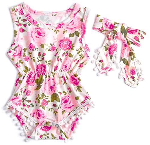 Leapparel Newborn Toddler Baby Girl Floral Sleeveless Bodysuit Romper Jumpsuit Outfit Set Casual Clothes with Headband xzq18051401